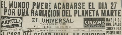 EL MUNDO PODRÍA ACABARSE EL DÍA 27 POR RADIACIÓN DE MARTE